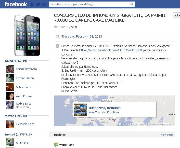 Concurs pentru câştigarea unui iPhone 5