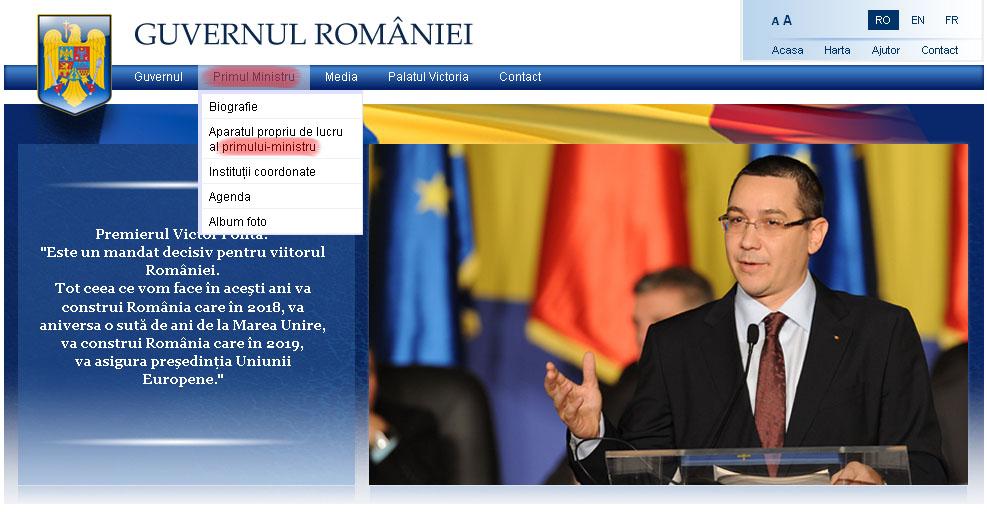 Antetul paginii Guvernului României