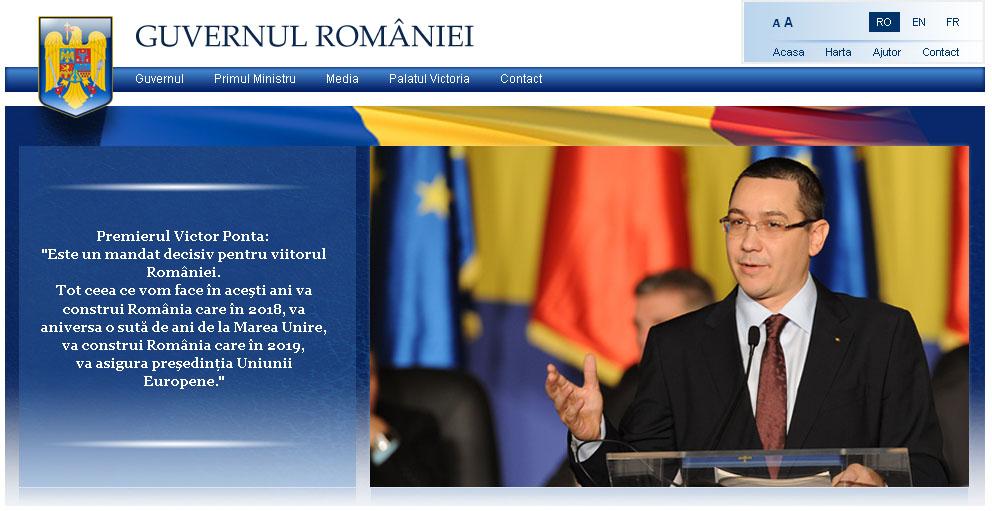 Header-ul site-ului Guvernului României